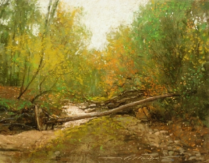 "Alan Flattmann, ""Dry Creek in Autumn,"" pastel on granular board, 14 x 18 in"