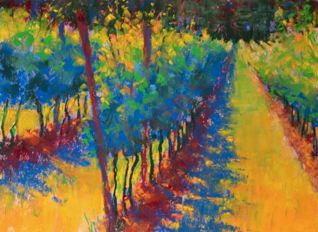 "Gail Sibley, ""Pinot Gris,"" pastel, 9 x 12 in"