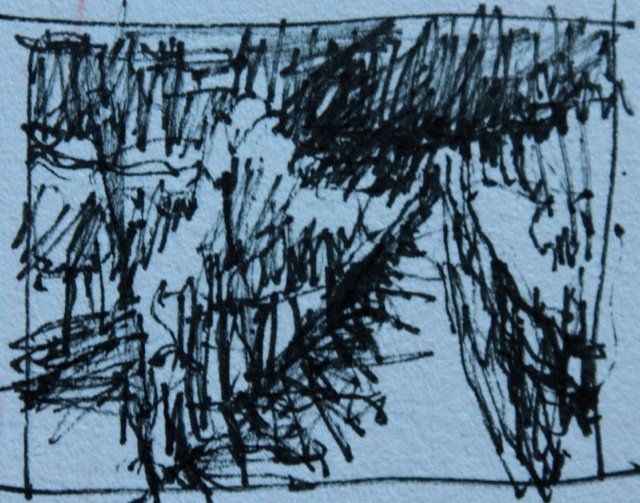 The initial thumbnail sketch, 1.25 x 1.5 in - so the size in the post is way to large!!!