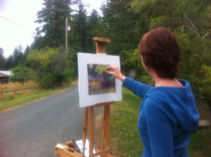 At my easel on location at Sharpe Rd