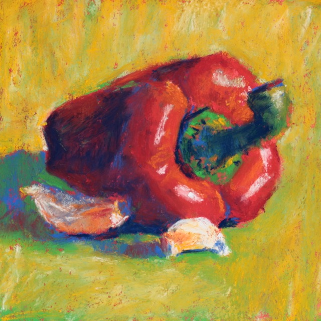 "Gail Sibley, ""Red Pepper and Two Garlic Cloves,"" Schminke pastels on Wallis paper, 6 x 6 in"