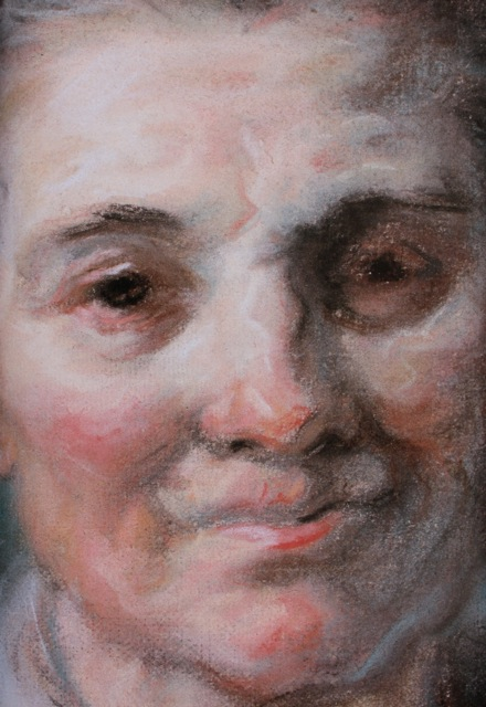 "Jean-Honore Fragonard, ""Portrait of Sophie,"" c.1780, pastel, 23.62 x 15.94 in (60 x 40 cm), Besancon, Musee des Beaux-Arts - detail"