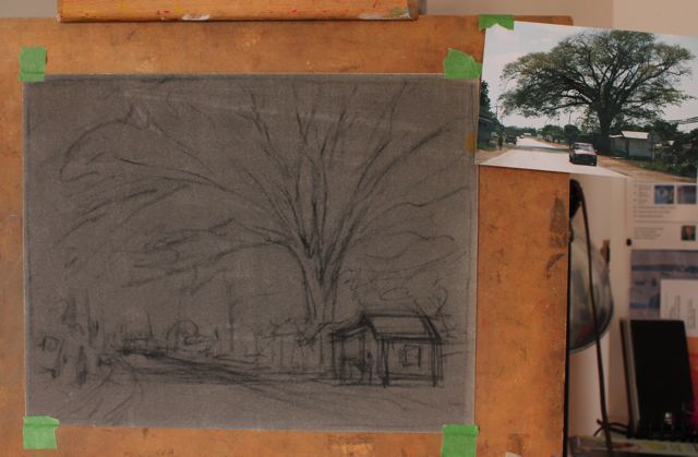 1. Here's the initial sketch in charcoal on La Carte paper. You can see the photo I am working from attached to the board