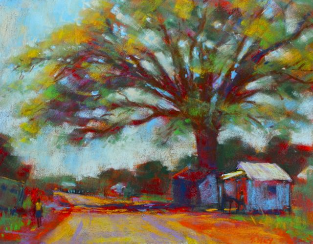 "6. Gail Sibley, ""Over One Hundred,"" pastel on La Carte, 9 x 12 in. The tweaks at the end included making a clearer line between the sky and trees in the background, and adding a couple of directional lines on the road."