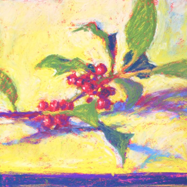 "Gail Sibley, ""A Sprig of Holly,"" pastel on paper, 6 x 6 in"