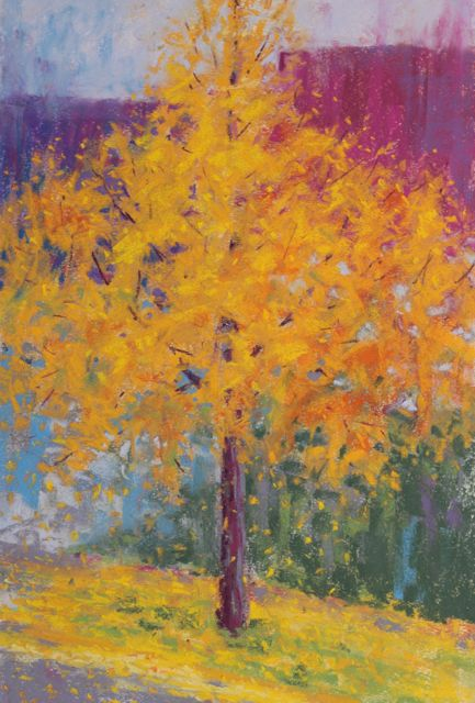 "Gail Sibley, ""The Gingko Tree,"" pastel, 18 x 12 in"