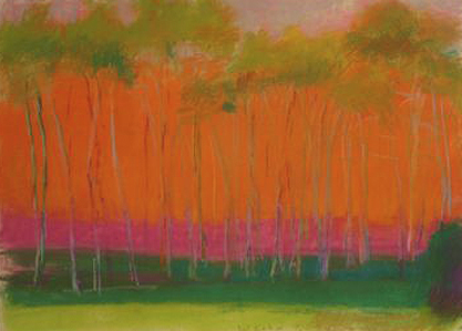 "Wolf Kahn, ""Dancing Trees,"" 1997, pastel on paper, 22 x 30 in, Marianne Friedland Gallery"