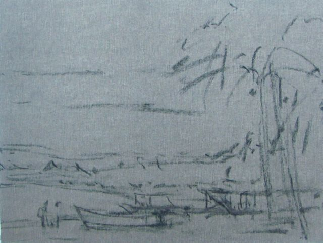 1. The beginnings of my plein air piece - the charcoal indication on Wallis paper of the beach scene