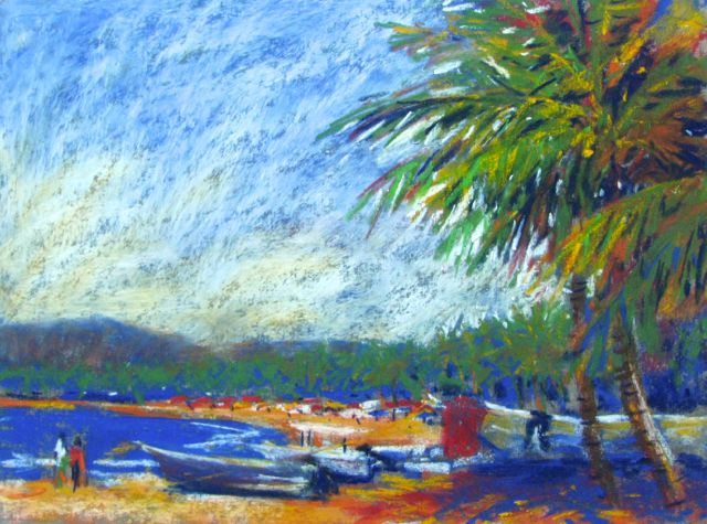7. Before leaving my painting spot, I decided that because there is such an expanse of sky that I could lesson it by stretching a couple of palm fronds into the picture. I also reinserted a hill in the background. By now I'm hungry and I go in search of some victuals :-)