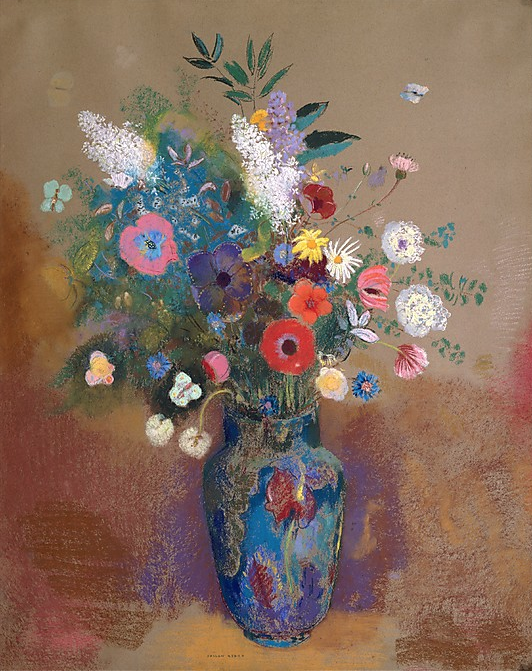 "Odilon Redon, "" Bouquet of Flowers,"" c. 1905, pastel on paper, 31 5/8 x 25 1/4 in, Metropolitan Museum of Art, New York"