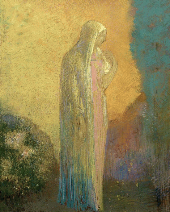 "Odilon Redon, ""Standing Veiled Woman,"" nd, pastel and graphite on paper, 19.37 x 15.75 in, Musee d'Orsay, Paris"