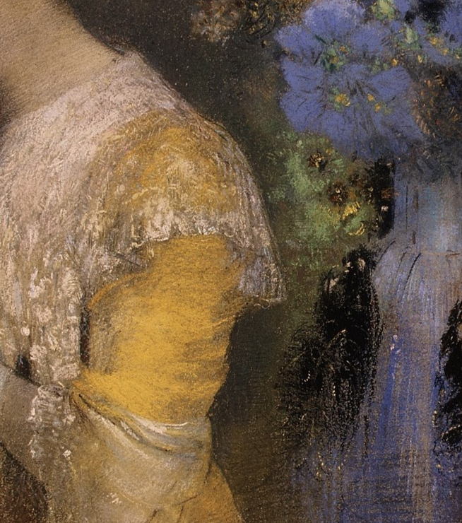 "Odilon Redon, ""Portrait of Madame Arthur Fontaine,"" 1901, pastel on paper, 28.5 x 22.5 in, Metropolitan Museum of Art, New York - detail"