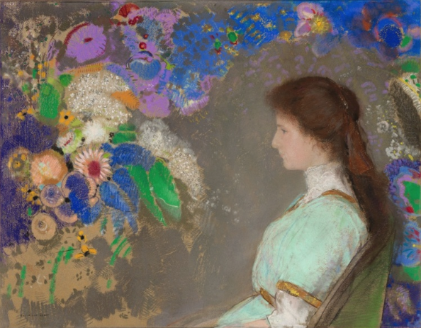 "Odilon Redon, ""Violette Heymann,"" 1910, pastel on paper, 28 5/16 x 36 3/16 in, Cleveland Museum of Art. Talk about colour! And the imaginary bower of flowers has reached a level of no doubt!"