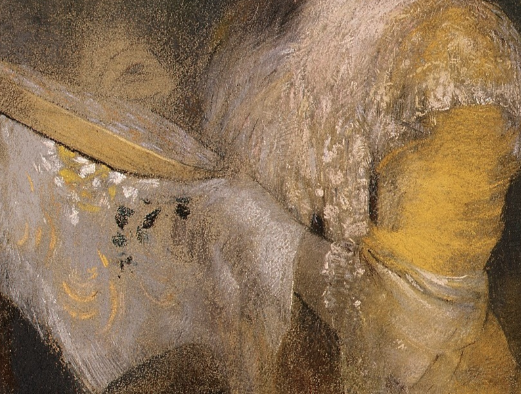 "Odilon Redon, ""Portrait of Madame Arthur Fontaine,"" 1901, pastel on paper, 28.5 x 22.5 in, Metropolitan Museum of Art, New York - detail of arm"