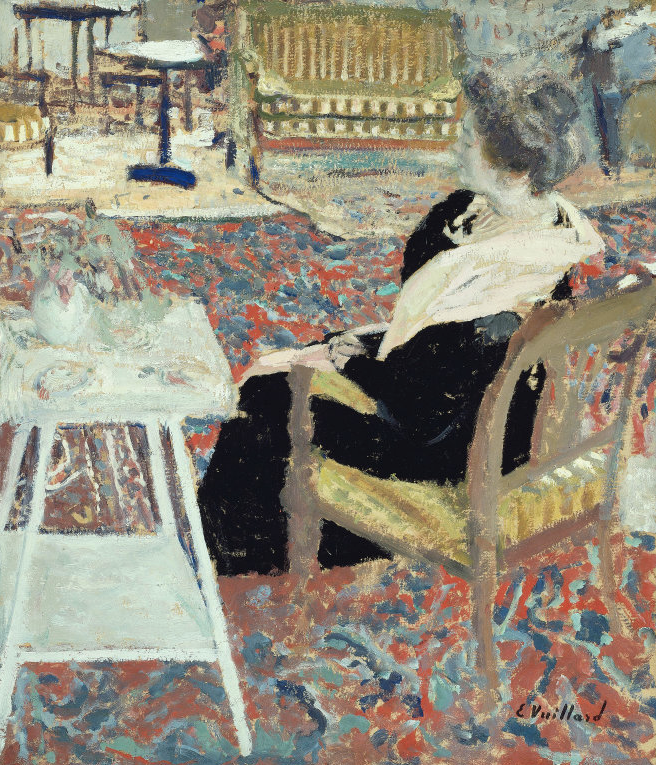 "Edouard Vuillard, ""Madame Arthur Fontaine in a Pink Shawl,"" 1903, gouache and oil on cardboard mounted on cardboard, 19 3/4 x 17 1/4 in,The Art Institute of Chicago"