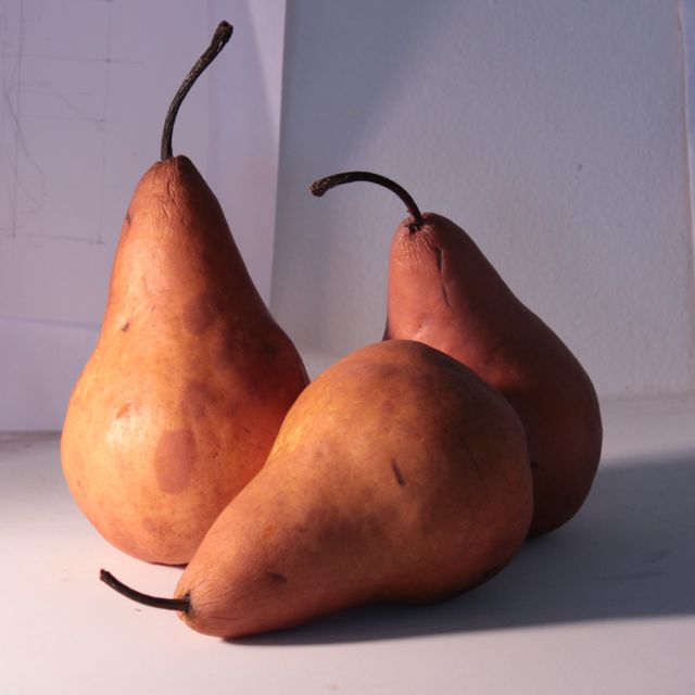 The three pears waiting to be painted.