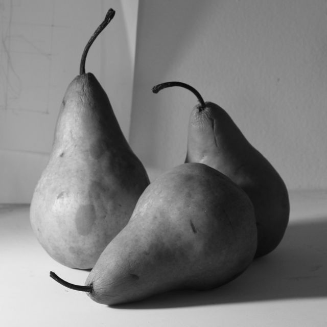 The pears shown in black and white