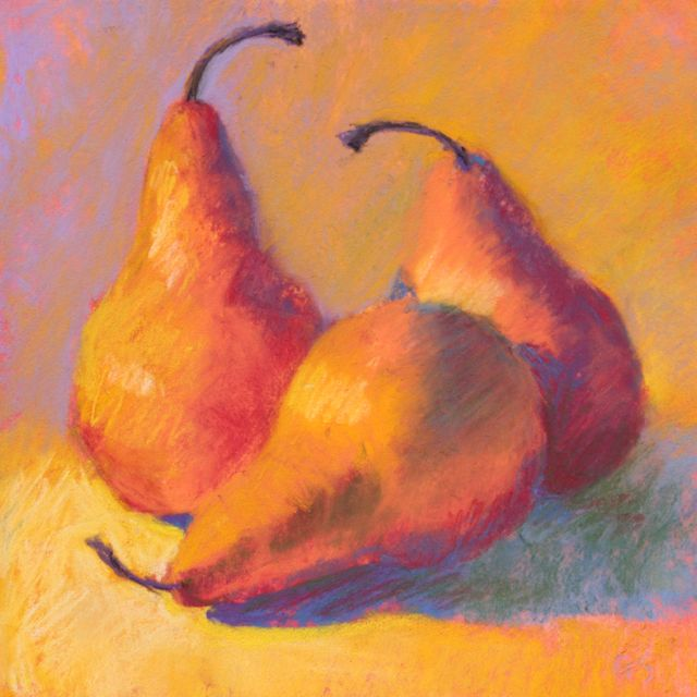 "Gail Sibley, ""Three Pears,"" pastel on paper, 5.5 x 5.5 in"