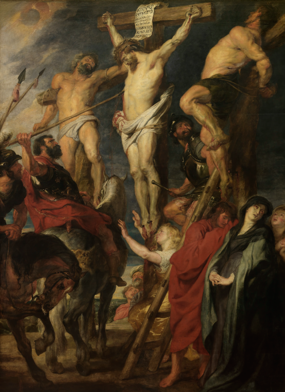 "de Lance or Christ on the Cross,"" 1619-20, oil on panel, 168.89 x 122.44 in (about 14'1"" x 10'2""), Koninklijk Museum voor Schone Kunsten, Antwerp, The Netherlands"