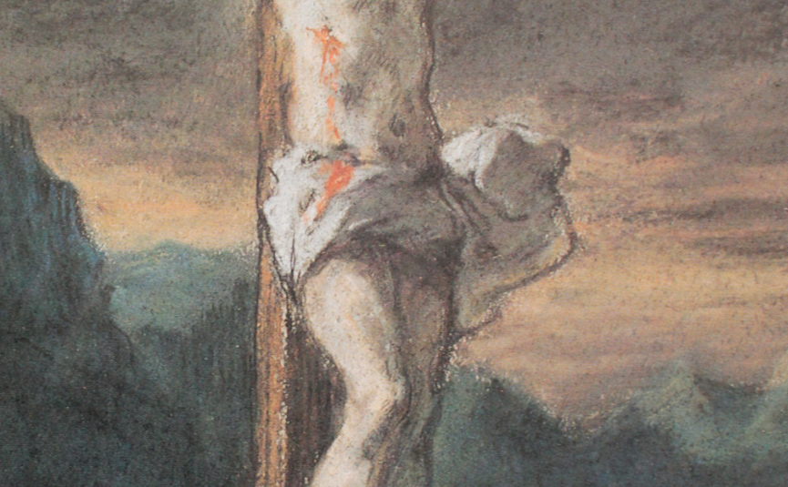 "Eugene Delacroix, ""Christ on the Cross,"" c 1853-56, pastel, 9 3/4 x 6 11/16 in, National Gallery of Canada, Ottawa - detail"