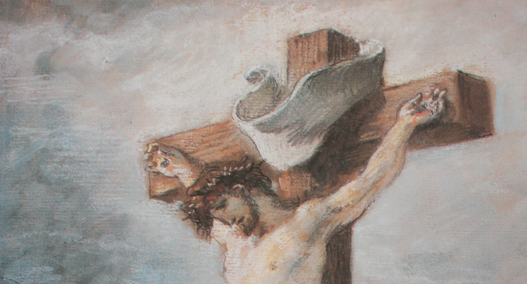 "Eugene Delacroix, ""Christ on the Cross,"" 1847, pastel, 11 1/4 x 8 1/4 in, Private Collection, Frankfurt - detail"