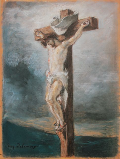 "Eugene Delacroix, ""Christ on the Cross,"" 1847, pastel, 11 1/4 x 8 1/4 in, Private Collection, Frankfurt"