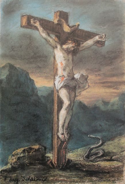 "Eugene Delacroix. Chist on the Cross,"" c 1853-56, pastel, 9 3/4 x 6 11/16 in, National Gallery of Canada, Ottawa"