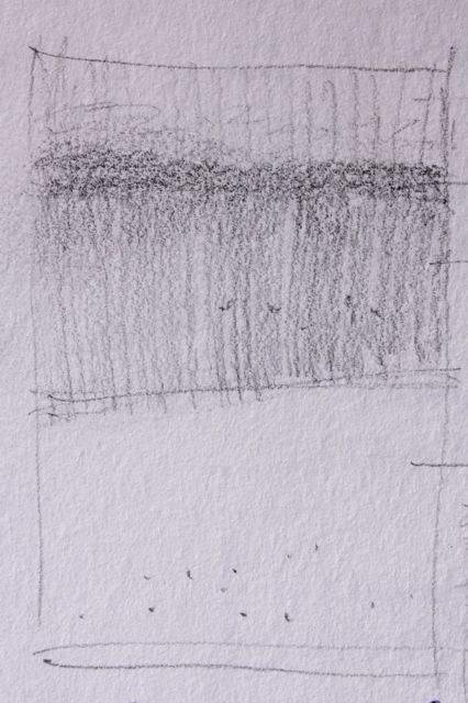 Thumbnail sketch showing the three main values and the composition, 2 1/2 x 1 in, pencil