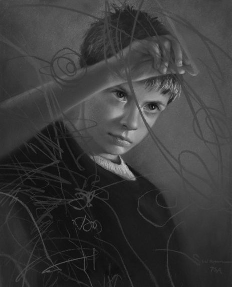 "Christine Swann, ""Determined,"" pastel, 18 x 14 inches, in black and white"