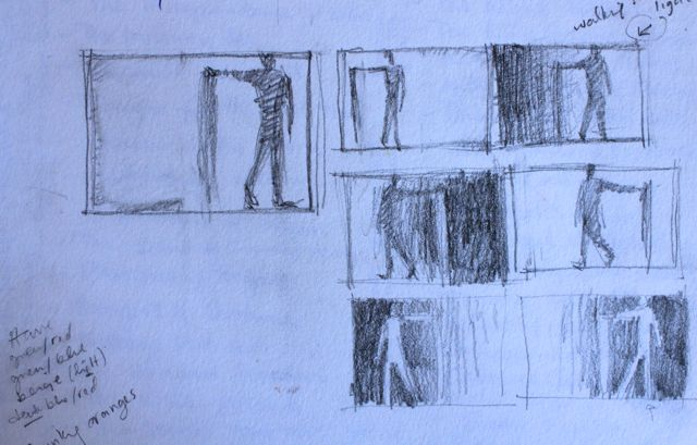 "1. Pencil thumbnail trying many different variations of value and figure position. You can see my notes on the left side talking about the dominant colour combos in previous pastels in the Blurred Boundaries series and that I wrote at the bottom, ""thinking oranges."" The design I chose to use was the one in the top right corner. I wrote, ""walking into the light."""
