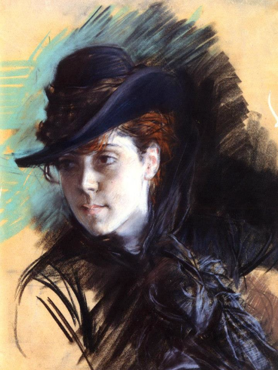 "Giovanni Boldini, ""Girl In A Black Hat,"" 1890, pastel on paper, 23 1/4 x 13 in (59 x 33 cm), Private Collection"