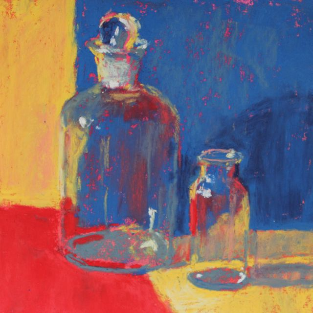 """Two Bottles,"" pastel,5 .5 x 5.5 in"
