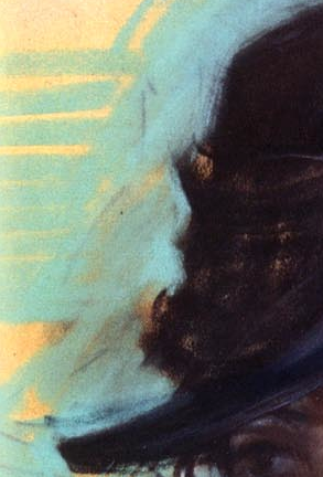 "Giovanni Boldini, ""Girl in a Black Hat"" - detail. This is a fabulous example of an artist using negative space to carve out the contour of the object. Look at how Boldini used the light blue pastel to create the contour of the black hat. He applied it thickly over the turquoise colour below."