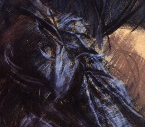 "Giovanni Boldini, ""Girl in a Black Hat"" - detail of material. Although it's unclear whether this material is part of the hat (I believe it is) or the dress, you can reach out and touch its translucency!"