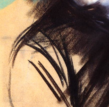 "Giovanni Boldini, ""Girl in a Black Hat"" - detail of the girl's shoulder. The shoulder barely suggested by a contour line and the folds of the dress coming from her underarm. There is a straight line cutting across near the top of the shoulder. Why is it there? Does it indicate where Boldini thought the pastel might be cropped?"