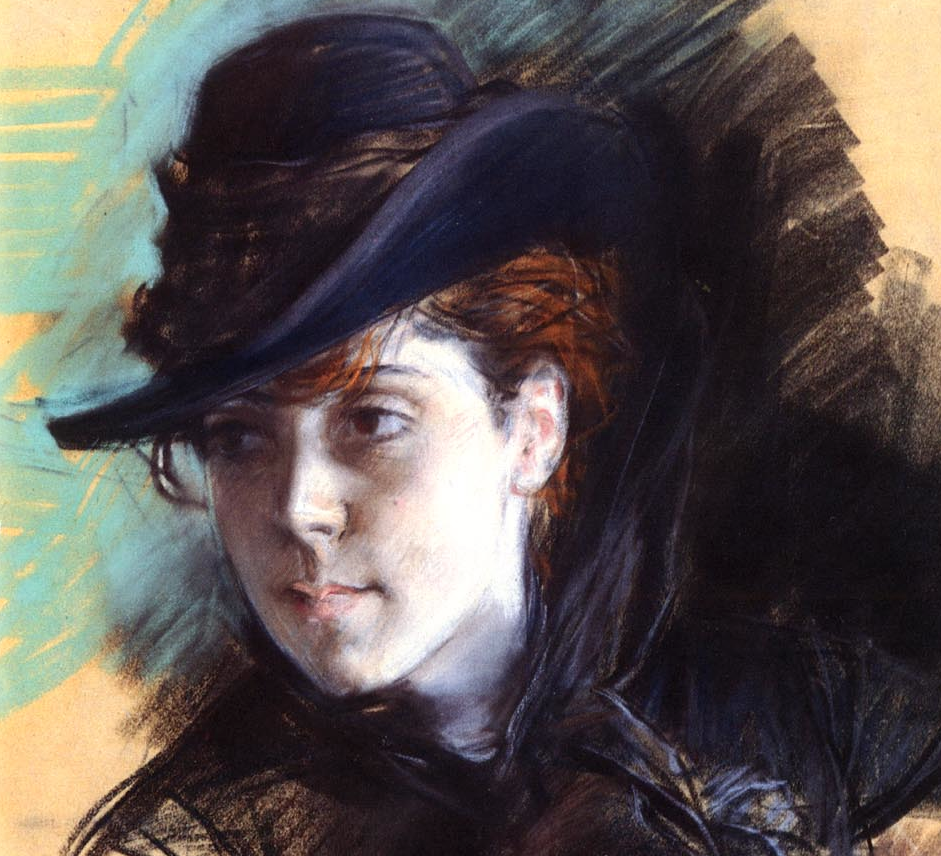 "Giovanni Boldini, ""Girl in a Black Hat"" - detail. Here we can compare the delicacy of the face with the vigorous strokes of the background. These hatchings gives the whole painting a strength it may not have had with a more gentle handling. The robust lines also give the girl a sense of vitality and assurance. What do you think?"