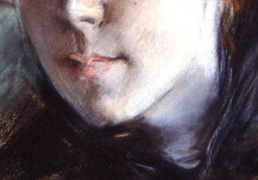 "Giovanni Boldini, ""Girl in a Black Hat"" - detail of mouth, chin and neck. Look at the way Boldini applies the same light purple pastel used in the highlights of the dark fabric to the neck and to the left side of the face, revealing light reflecting on the face from the dark material of her dress."