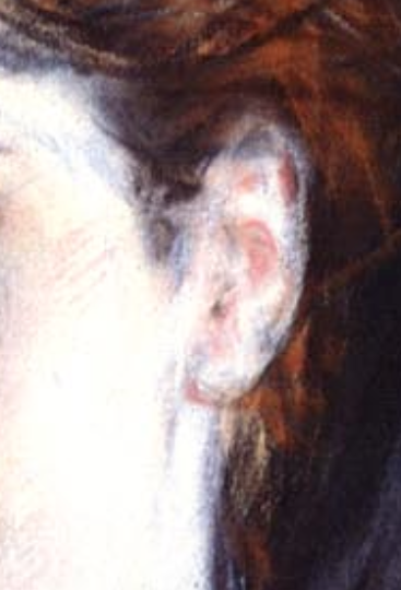 "Giovanni Boldini, ""Girl in a Black Hat"" - detail of ear. One of the most difficult transitions in a portrait is that between skin and the hair on the head. Look at how Boldini first indicated the hair then softened the transition by pulling the white of the skin over the pony where hair meets skin. You can also see that he indicates the top of the ear where previously it appears the hair covered the top of the ear."