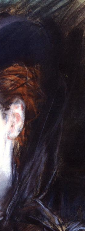 "Giovanni Boldini, ""Girl in a Black Hat"" - detail of the material that held the hat on the head. With just a few strokes in a purply pastel, Boldini indicates the material that wishes around the neck to hold the hat in place. This material appears to cascade in front as seen in the next image."