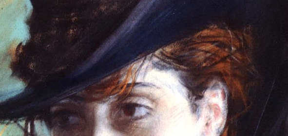 "Giovanni Boldini, ""Girl in a Black Hat"" - detail of the girl's hair and eyes. How easily Boldini creates the  red hair of his model. I love the way a few dark lines represent wisps on the right side and a few lines of burnt orange reveal the escaping strands over her eyes. And those eyes! Beautifully and confidently depicted."