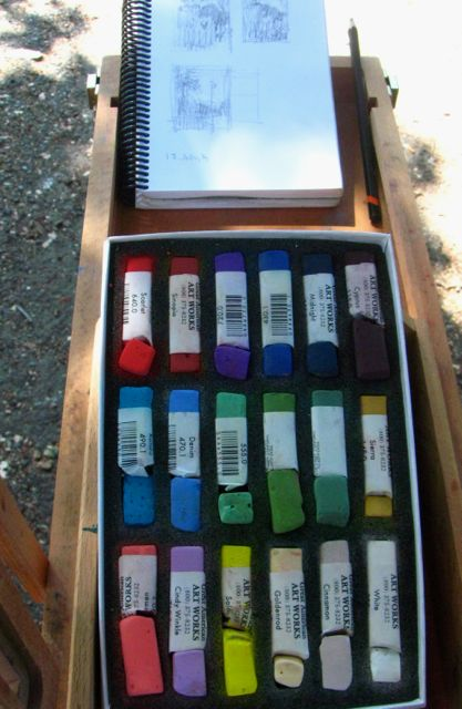 1. Unison starter kit of pastels all ready to go! (Thumbnail sketches in the background.)