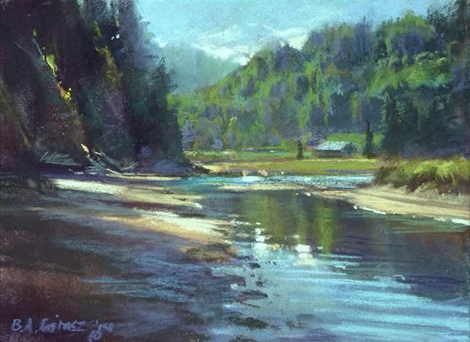 "Bruce A Gomez, ""Punto Amada,"" plein air pastel on Arches 140lb CP w/c paper, 8 x 10 in. Bruce says he sands the tooth of the paper down using 80 grit sandpaper until it feels like suede. It apparently holds the pastel beautifully!"