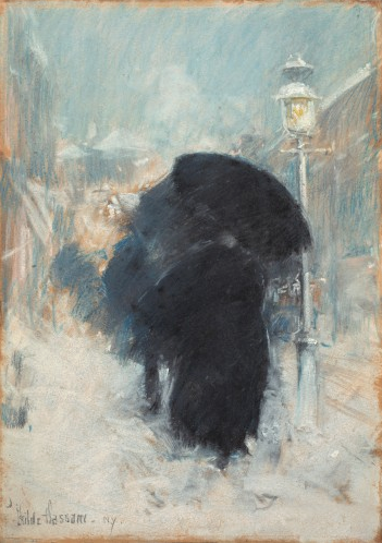 "Childe, ""A New York Blizzard,"" 1890, pastel on gray paper, 13 3/4 x 9 1/2 in, Isabella Stewart Gardner Museum, Boston"