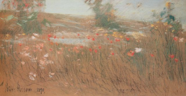 "Childe Hassam, ""Poppies, Isles of Shoals,"" 1890, pastel on paper, 7 1/4 x 13 3/4 in, Private Collection"