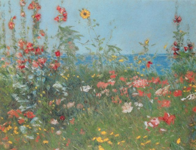 "Childe Hassam, ""Poppies, Isles of Shoals,"" 1891, pastel on paper, 9 3/4 x 12 1/4 in, Private collection"