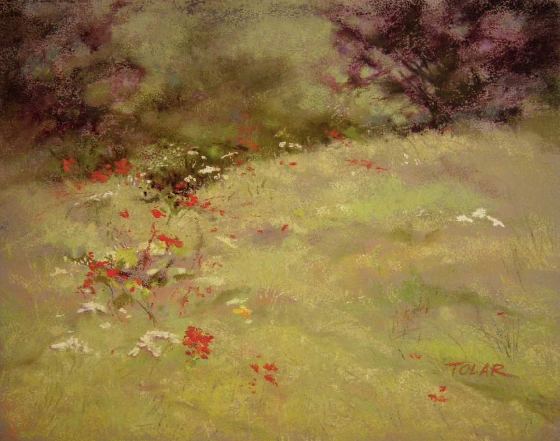 "Jude Tolar, ""Wildflowers Dance,"" pastel on Ampersand pastelbord, 11 x 14 in"