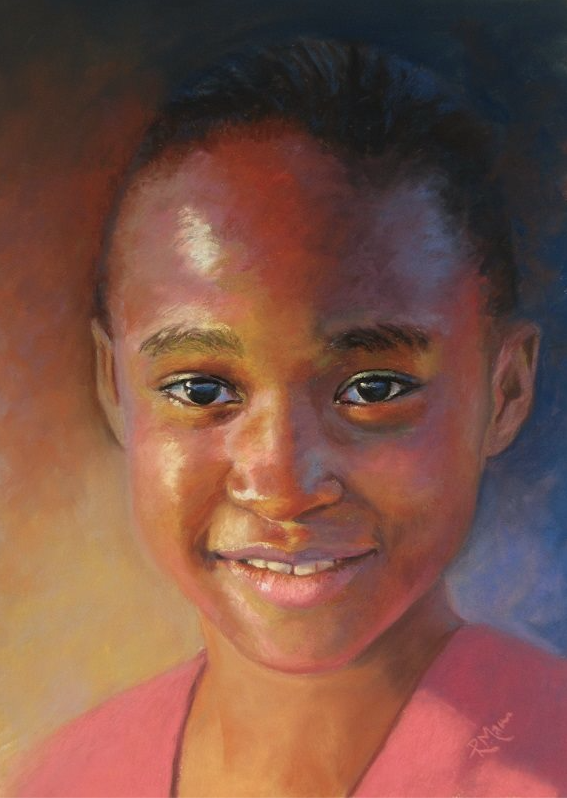 "Ruth Mann, ""Girl in Pink,"" pastel on Fisher 400, 16 x 12 in"
