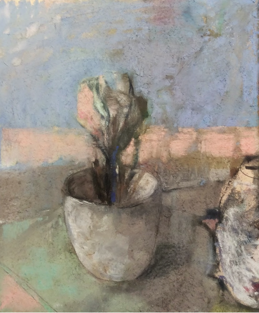 """Casey Klahn, """"The French Moderists,"""" pastel, oil bar and graphite on 100% rag paper, 11 x 9 in"""