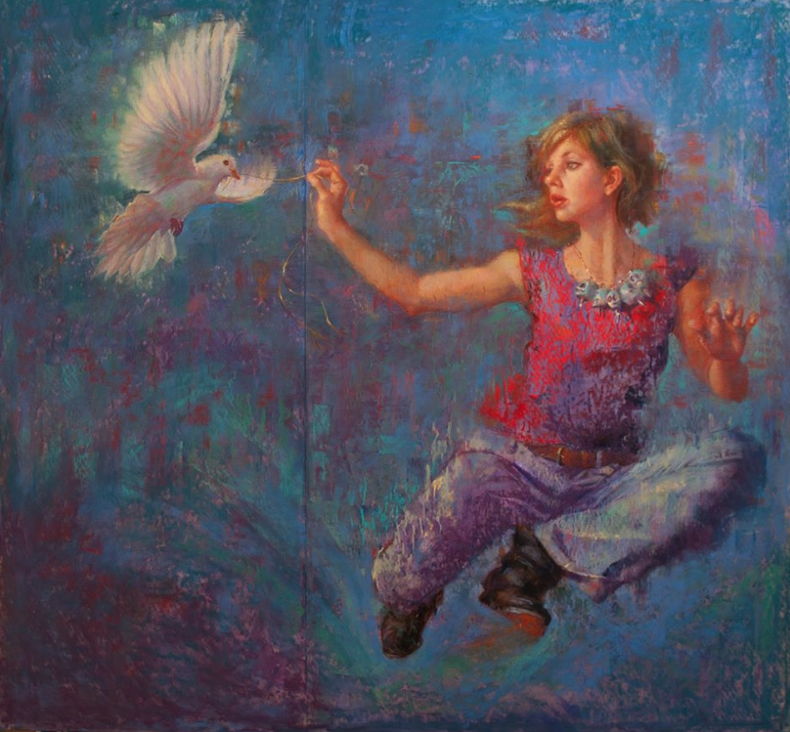 "Janet A Cook, ""Thread of Flight,"" pastel, 40 x 43 in"
