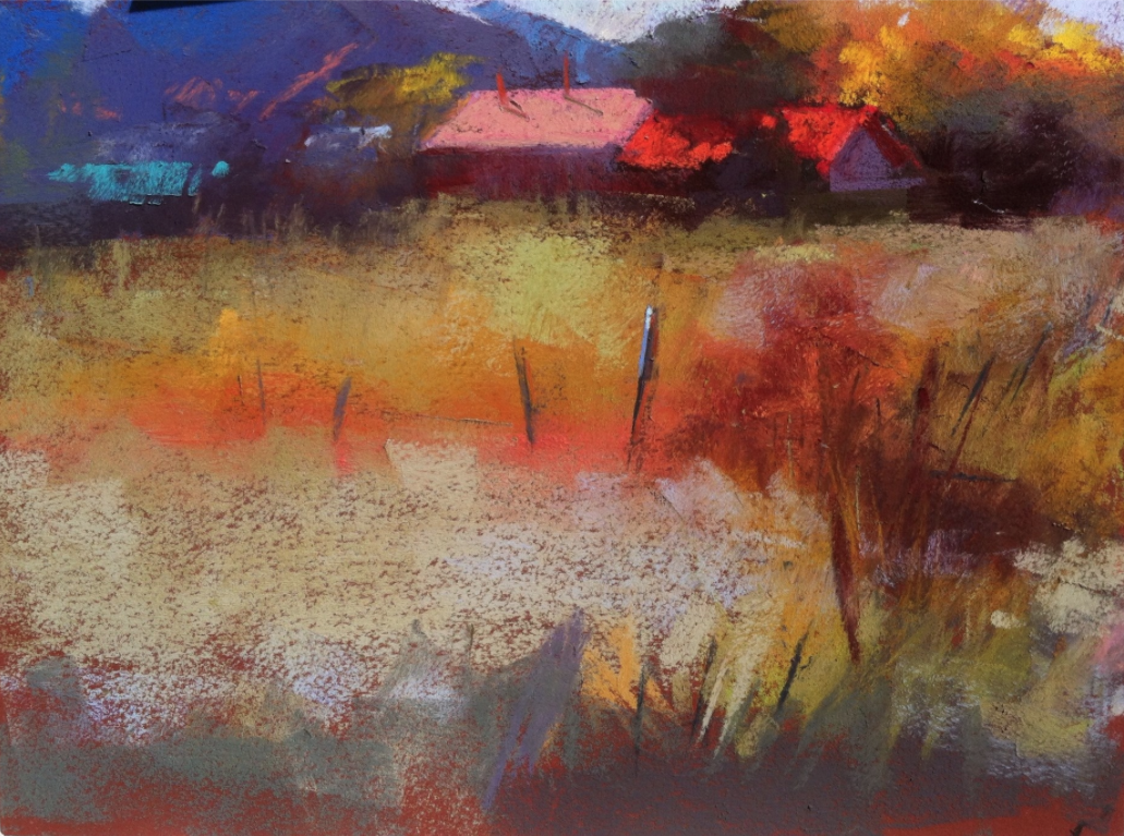 Aline Ordman, New Mexico workshop demo, Terry Ludwig pastels on Colourfix paper, 9 x 12 in
